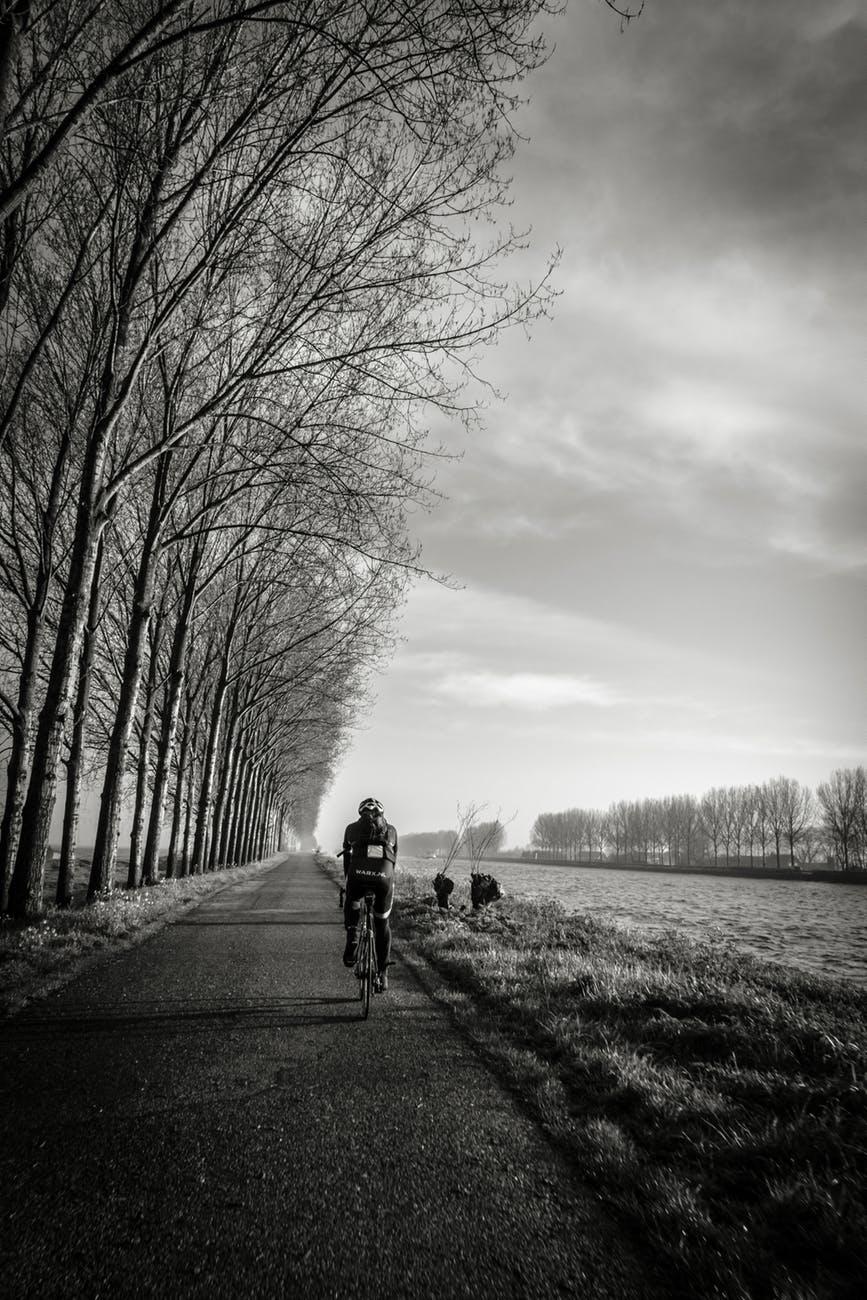 bicycle bike biker black and white