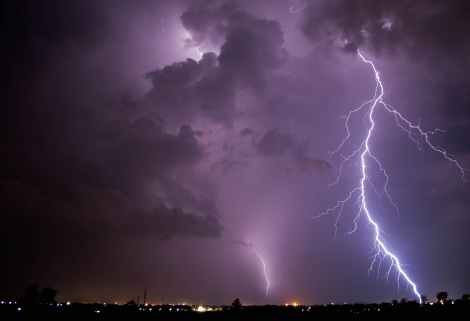 scenic view of thunderstorm